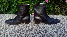 Vintage FRANCO MODE  Crocodile Pattern Brown Leather ankle boots UK 7 EU 41