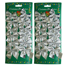 Christmas Tree Bow Tie Decorations Pack of 24pcs Xmas Party Garden Ornament UK Silver