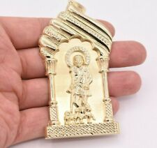"4 1/2"" Saint Lazarus Jesus Pendant Diamond Cut Real 10K Yellow Gold"