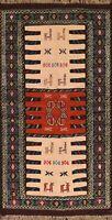 Tribal Geometric Kilim Oriental Area Rug Wool Hand-Woven Traditional Carpet 3x6