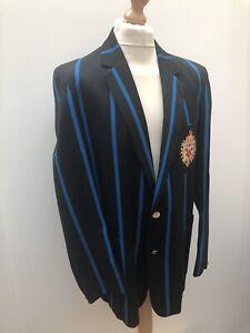 Vintage 1960's Mens Mar Mair Boating Blazer Jacket Striped Black and Blue Size L