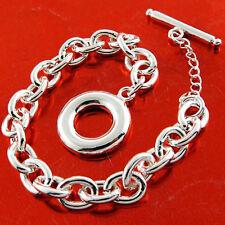Tbar Bracelet Bangle Real 925 Sterling Silver S/F Chunky Solid Link Design