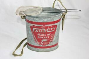 Vintage Falls City Wade In Bucket Galvanized Bait Can w/Small Minnow Net