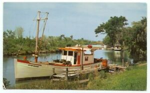 Louisiana Bayou Country Vintage Boat Postcard