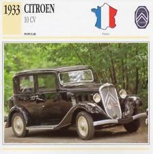 1933 CITROEN 10-CV Classic Car Photograph / Information Maxi Card