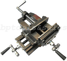 "5"" Cross Drill Press Vise 2 Way X-Y Slide Metal Milling Clamp Machine Heavy Duty"