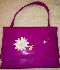 VINTAGE SHINY PATENT LEATHER PURSE HOT PINK HANDPAINTED FLOWER DESIGN NEVER USED