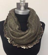 Women Winter Warm knitted crochet 1-Circle Cowl Infinity Scarf Wrap Brown/Beige