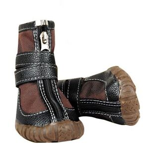 Large Dog Leather Brown Boots Winter Waterproof Non-slip Pet Puppy Sport Shoes