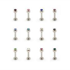 Gem Labret Lip Piercing Stud Monroe Clear & Coloured Crystal Gem Ball Labret Bar
