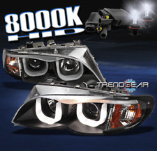 2002-2005 BMW E46 3-SERIES 4DR 3D DRL LED BLACK PROJECTOR HEAD LIGHT W/8000K HID