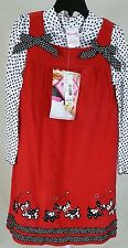 Nannette 2 piece red cord dress w/ white & heart turtleneck.  New.  Size 5/6