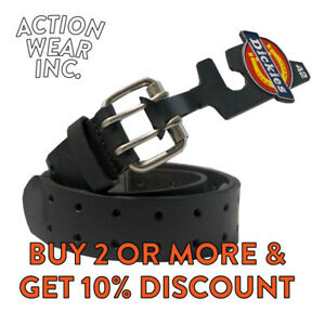 DICKIES MEN'S 2 HOLE LEATHER BELT DOUBLE PRONG BRIDLE INDUSTRIAL STRENGTH BELT