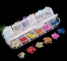 36pcs 12 Colour Dried Flowers Nail Art Tips Case UV Arcrylic Tips Decoration