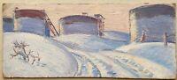 Russian Ukrainian Soviet Oil Painting realism industrial landscape oil tanks