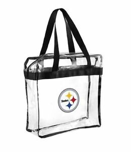 Pittsburgh Steelers Clear Plastic Zipper Tote Bag NFL 2021 Stadium Approved