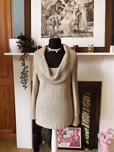 BNWT Marks M & S Per Una Gold Lurex Knit Cowl Neck Knit Size L Fit 14 16