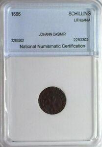 Scarce Rare Genuine Vintage 1666 Johann Casimir of Lithuania Schilling Coin  XF+