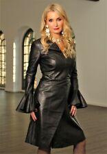 Vestido de cuero en muy suave real-cuero como diseñador vestido en negro para señora