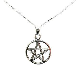 Sterling Silver (925) Pentagram Pendant ( 18 mm ) + Silver Chain !!   New !!