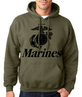 MARINES HOODIE MILITARY GREEN Usmc Us Hooded Sweatshirt Marine Corps Semper Fi