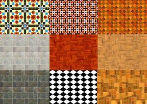 Self Adhesive, Dolls House Wallpaper, Floor & Wall Tiles Gloss 1:12 FREE Postage