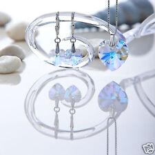 Schmuckset 925 Silber mit Swarovski Herzen Crystal AB