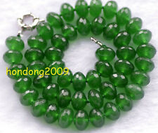 """Faceted 8x12mm Green Emerald Roundel Beads Necklace 18"""" AAA"""