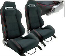 2 BLACK + RED STITCH RACING SEAT RECLINABLE ALL FORD **