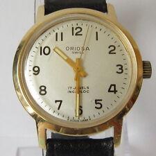 "VINTAGE""ORIOSA""17J. GOLD PLATED MECHANICAL SWISS MEN'S WATCH SERVICED # 961"