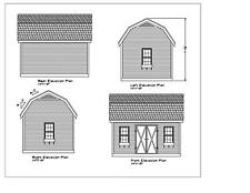 SHED PLANS 16'X12 BLUEPRINTS SHED 12'X16' GABLE FRONT DORMER #17-1216GMBFD