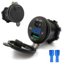 Blue LED USB Car Motorcycle Fast Charger Port Socket LED Voltmeter w/ Switch 12V