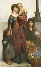 Flower Sellers of London Gustave Dore Mädchen Armut Kinder Mutter B A3 02176