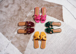 Patent Leather Flat Slide Slippers Colorful Magenta Beach Pool Comfy Women Shoes