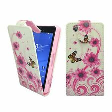 CASE FOR SONY XPERIA Z3 MINI FLIP PU LEATHER WHITE PINK SWIRL FLOWER BUTTERFLY