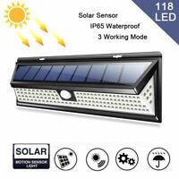5000LM 118LED Solar Power PIR Motion Sensor Wall Security Lamp Garden Outdoor