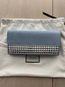Genuine Gucci Swarovski Pale Blue Suede Clutch