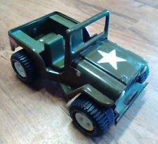 "Tonka Pressed Steel Toy Jeep, OD Green, Folding Windshield, 6"" in Length"