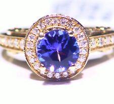 2.70ctCT 14k ORO Tanzanita Natural Diamante Vintage AAA ANTIGUO