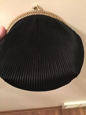 Vintage Claire Pleated Black Evening Bag Clutch Purse Double Kiss Lock No Chain
