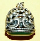 ~ANTIQUE~VICTORIAN~STERLING~SILVER~w/~GREEN~AGATE~ORNATE~SCROLL~DESIGN~WATCH~FOB