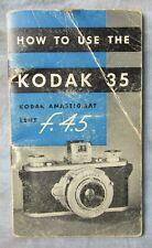 New listing Original Kodak 35 f/4.5 Film Camera Instruction Manual