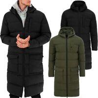 Mens Hooded Long Puffer Jacket Trench Coat Padded Parka Jacket Winter Mac Ove...