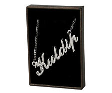 """Name Necklace """"KULDIP"""" - 18ct White Gold Plated - Name Plate"""