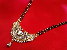 22k gold plated oxdise flower mangalsutra with balck beads double  chian