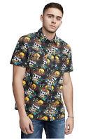True Religion Men's Skull Wave Utility Button Front Shirt in Black