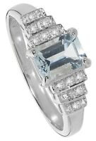 Aquamarine and Diamond Ring White Gold Engagement Appraisal Certificate size J-Q
