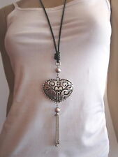 Damen Hals Kette lang Modekette Bettelkette Leder XL Herz Silber Schwarz h076
