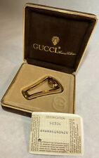 Gucci Vintage 1983 Gold Tone Money Clip w Certification & Original Box Authentic