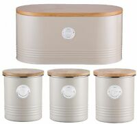 Typhoon Tea Coffee Sugar Canisters Caddy & Bread Crock In Pastel Putty Bread Bin